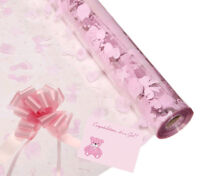 Baby Girl Cellophane Gift Wrap Baby with FREE Pull Bow Curling Ribbon & Card