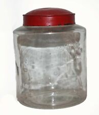 Early Antique Glass Pantry / Apothecary Storage Jar, Orig. Tin Lid