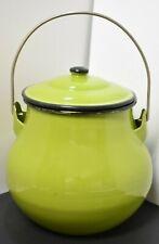 Green / Black Rimmed Enamelware ~ Graniteware ~ 2 Quart Bean Pot ~ Japan