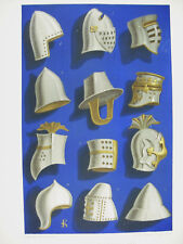 Equipement militaire casque heaume IXe Xe XIe lith XIXe 1858 Hangard et Maugé