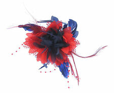 Navy blue and red Fascinator on a comb for Ascot , Races, Weddings, Ladies Day