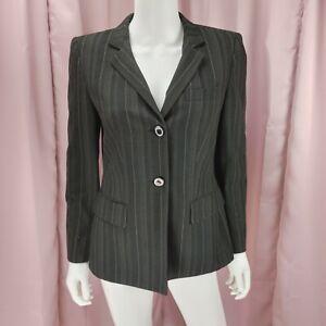 Kasper Petites Women's Black Striped Viscose Long Sleeve Blazer Jacket Size 6P