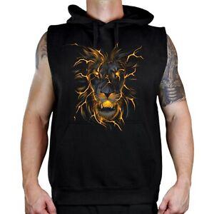 Men's Lava Lion Black Sleeveless Vest Hoodie Fire Flaming Beast Animal Hunting