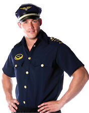 Pilot Mens Adult White Sky Navigator Halloween Costume Navy Blue Shirt-Xxl