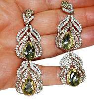 Chandelier Earrings Rhinestone Pageant Crystal Citrine 2.8 inch