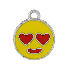 5 Silver Tone YELLOW Enamel LOVESTRUCK Smiley FACE Charm Pendants che0399