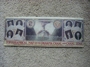 Rare 1915 Topagraphical Map of Panama Canal & Canal Zone SF Panama Exposition