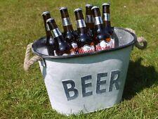 Galvanised Metal Beer Wine Ice Bucket / Planter Rope Handles Perfect for BBQs!