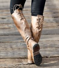 New $295 BED STU MANCHESTER RIDING TAN BACK LACE UP TALL KNEE LEATHER BOOT 6.5 M