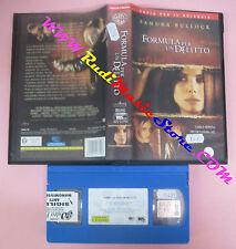VHS film FORMULA PER UN DELITTO 2002 Sandra Bullock WARNER WIV 22764(F99) no dvd