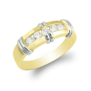 JamesJenny Ladies CZ Wedding Band Size 5-10 - 10K/14K Yellow/White/2 Tone Gold
