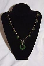 """Vintage 27.5"""" Faux Jade Heart Necklace signed Les Bernard, Inc. 1/20 12K"""