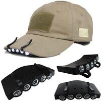 5 LED Bright Fishing Camping Hiking Head Light Under the Brim Cap / Hat Headlamp
