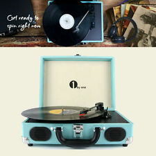 1byone Vintage Vinyl Record Player Stereo Turntable Speaker Turquoise Belt Drive