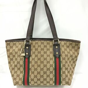 Auth Gucci GG canvas 137396 Sherry line charmed tote bag From Japan 0710*2109