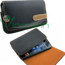 Custodia eco pelle cintura iPhone 5 5S SE Brown Line foderino protezione sobria
