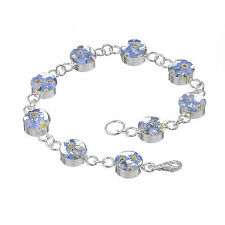 SILVER FORGET ME NOT BRACELET.  SILVER BRACELET WITH REAL FORGET ME NOT FLOWERS