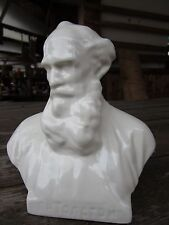 Russian Porcelain Statue Bust writer Leo Tolstoy War and Peace vintage Толстой