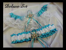 PLUS SIZE DELUXE Set Turquoise Silver White GARTER and TOSS Prom Wedding Bridal