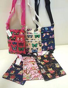 Ladies Girls Cross Body Shoulder Travel Passport Evening Bag Purse Owl Butterfly