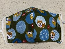 Shiba-Inu Face Mask With Filter Pocket Made With Japanese Cotton L Size, シ�犬