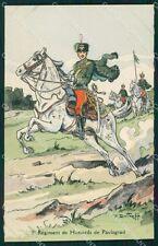 Military Russia Russian Soldier Horse Dmitroff Pavlograd Hussars postcard XF3619