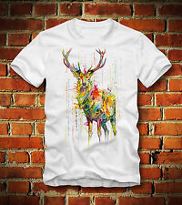 BOARDRIPPAZ T SHIRT HIRSCH REH HIPSTER DEER STAG SWAG DOPE HUNT JAGD WATER COLOR