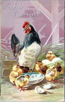 1909 Raphael Tuck Easter Postcard Series Chickens Chicks Hen Embossed BE