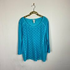 Chicos Womens Top Blouse 3/4 Sleeve Blue Large Conventional 12 Chicos Size 2
