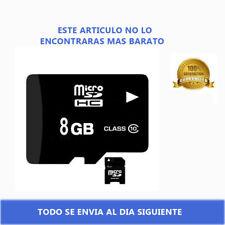 Tarjeta de Memoria Micro SD HC 8GB Clase 10 MicroSD con Adaptador para MP3 Negra