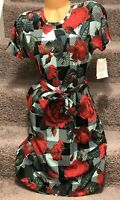 LulaRoe Marly Dress Gorgeous Red Roses, Green Plaid Print