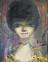 Vintage 1960's Big Eye Cute Girl Oil Painting Signed Portrait Expressionist