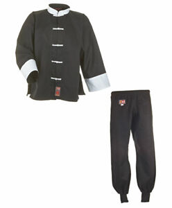 Kung Fu Suit Black/White From Ju Sports, 100% Cotton. IN 110-200cm. Wt, Tai Chi