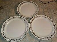 "Set of 3 Taylor Smith Taylor 10"" Dinner Plates 954 Platinum Laurel Border & Rim"