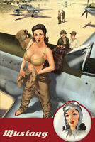 Mustang pinup Girl air war memorabilia engine WW2 Photo 4x6 inch E
