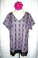 Dept 222 Women's Top Plus Size 1X Red White Blue Pink Mosaic Print Crochet Trim