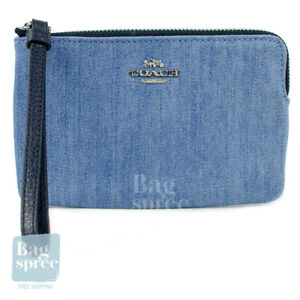 Coach Corner Zip Wristlet Denim Blue 92623 SVM64