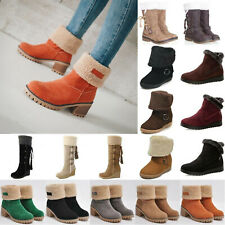 Women Winter Warm Snow Shoes Mid Block Fur Liner Thermal Boot Booties Shoes Size