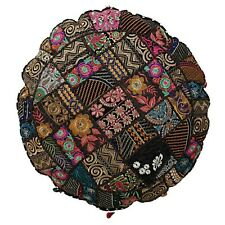 Indian Black patchwork floor pillow pouf cover cotton embroidery cushion cover