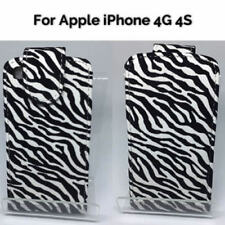 ZEBRA STYLE PU LEATHER FLIP CASE COVER POUCH FOR APPLE IPHONE 4S 4G