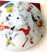 Vtg Ceiling Light Shade Fixture Sport Boxing Football Hockey Glass Childrens Roo