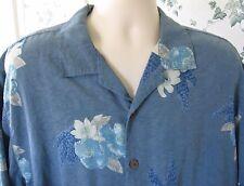 Tommy Bahama Hawaiian Men's Shirt Wood Buttons Floral Short Sleeve Aloha L Large