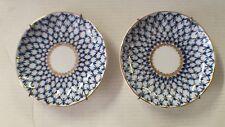 "Lomonosov ""Made in the USSR"" Cobalt Net Matching Saucer Plates"