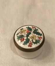 Halcyon Days Enamel Trinket Box Holly green leaves Christmas red berries tiny