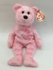 """2007 Ty Beanie Baby 8"""" Rare Retired Support Breast Cancer Pink Ribbon"""