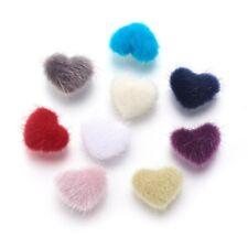 4 Fuzzy Heart Cabochons Flatbacks Furry Flat Back Assorted Lot Jewelry 17mm