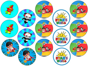 RYANS WORLD INSPIRED 15 X 2'' ROUND CUPCAKE TOPPERS EDIBLE ICING / WAFER