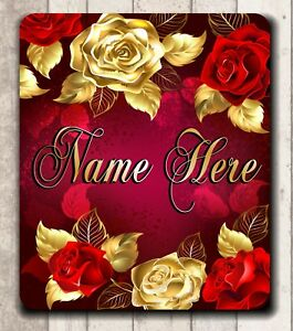 **MOUSE PAD - BEAUTIFUL ROSES RED AND GOLD - QUALITY! PERSONALIZED FREE!**