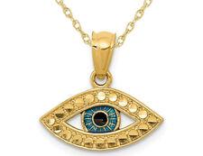 14K Oro Amarillo Azul Esmalte encanto colgante collar con cadena de ojo