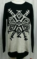 MOSSIMO XL Sweater Black White Long Sleeve Colorblock Snowflake pull Over Tunic